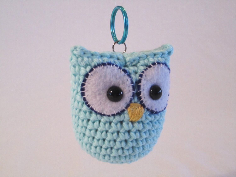 Amigurumi Keychain Loop : Blue Owl Keychain Pal handmade crochet amigurumi by ...