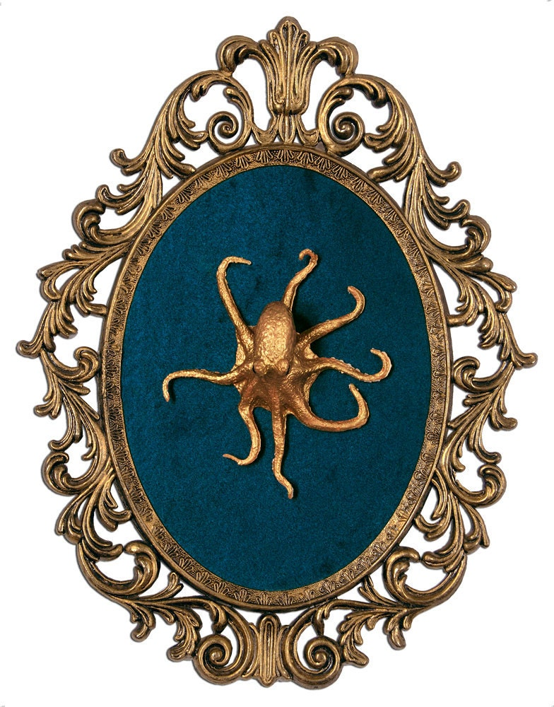 Gold octopus mounted in victorian frame wall art by for Victorian wall decor