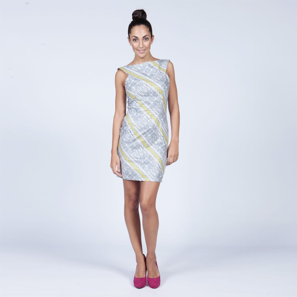 Sleeveless Print Dress Grey and Yellow African Print Dress Fitted Pencil dress