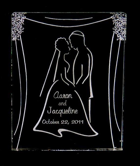 Jewish Wedding Couple Cake Topper Wedding Engraved Personalized