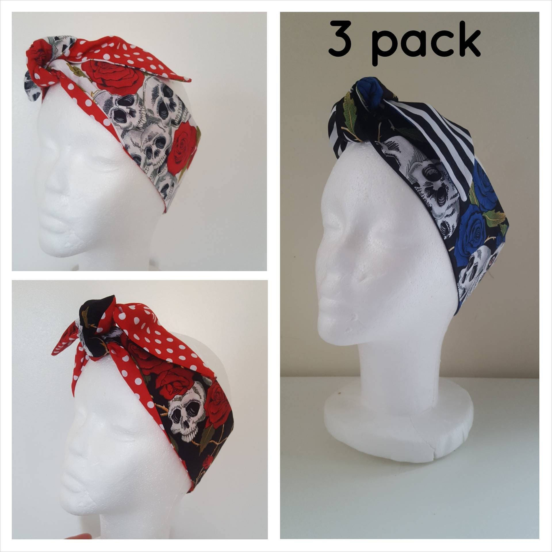 Skull and rose print hairbands Rockabilly hair Vintage head wrap Rockabilly Accessories Retro Bandana 1950s headscarf multipack