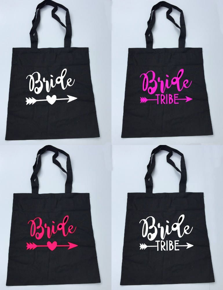 Bride tribe bag bride tribe bride tribe hen party bag bridesmaid bag will you be my bridesmaid bag bride tote bag pink black natural