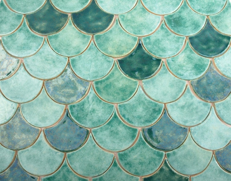 Fish scale ceramic tiles