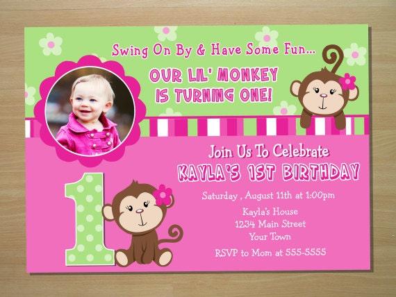 Girl monkey birthday invitations images coloring pages adult monkey 1st birthday invitations choice image coloring pages adult filmwisefo
