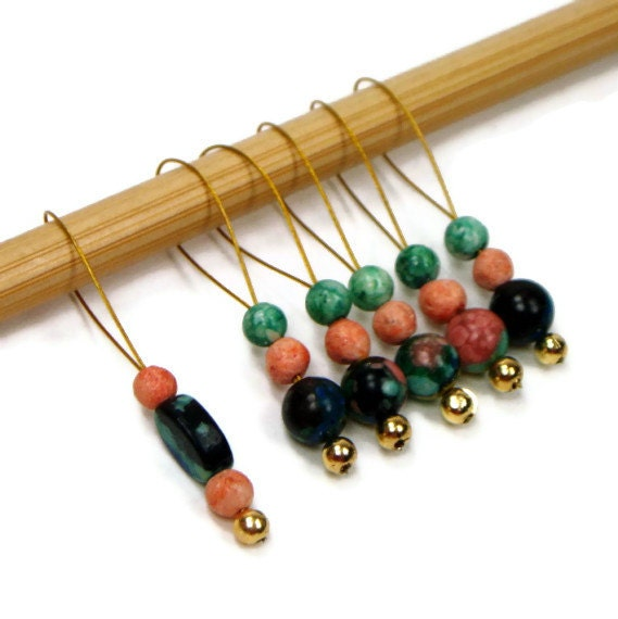 Beaded Knitting Stitch Markers Set, Snag Free, DIY Crafts, Knitting Tools, Gift for Knitter, Rainbow Stone, TJBdesigns - TJBdesigns