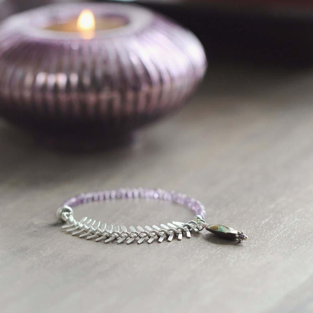 Rose de France Amethyst Bracelet with Fish Bone Chain and Abalone Charm - ArtiqueBoutiqueShop