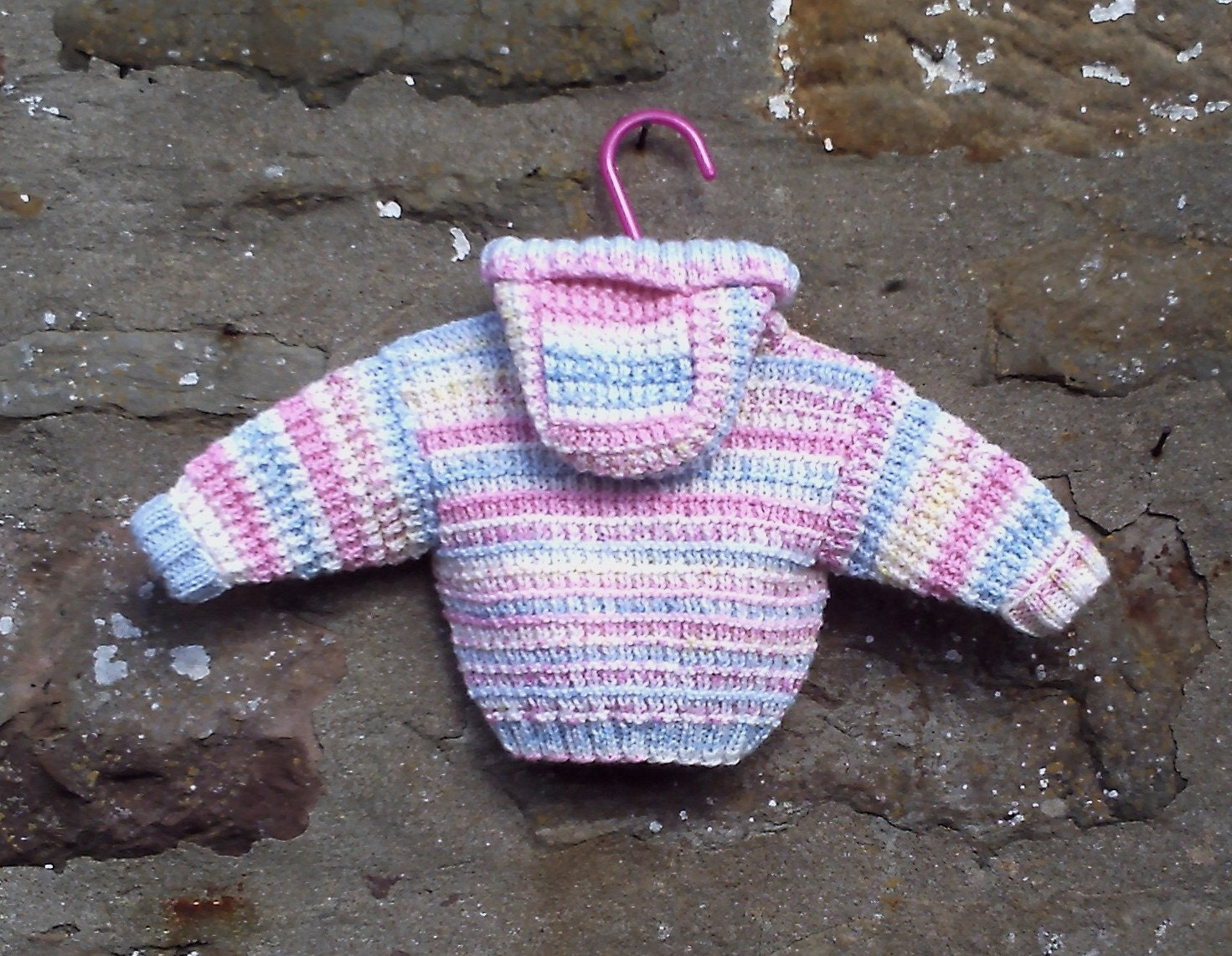 Baby girls hand knitted pink  multi hooded jacket or cardigan. Preemie 14 or newborn baby.