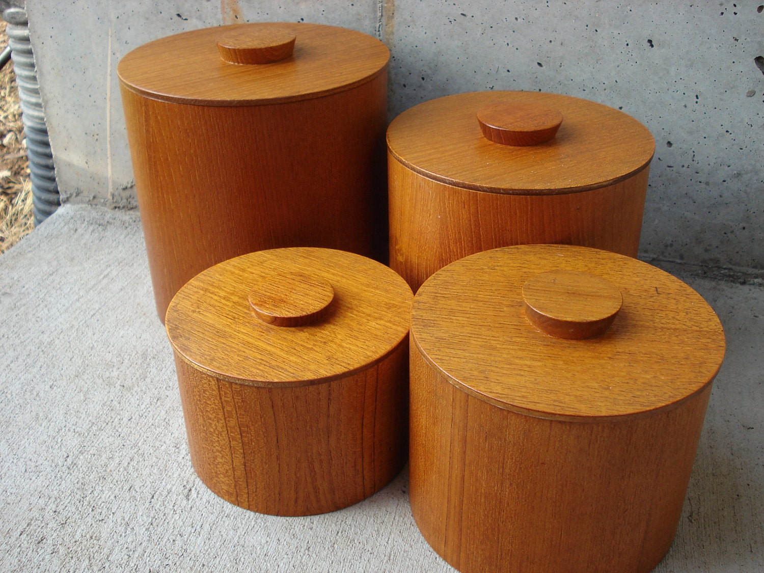 set of 4 all wood kitchen canister set by lkwhatthecatdraggedn