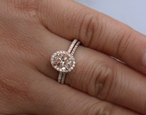 14k Rose Gold 8x6mm Morganite Oval Engagement By Twoperidotbirds