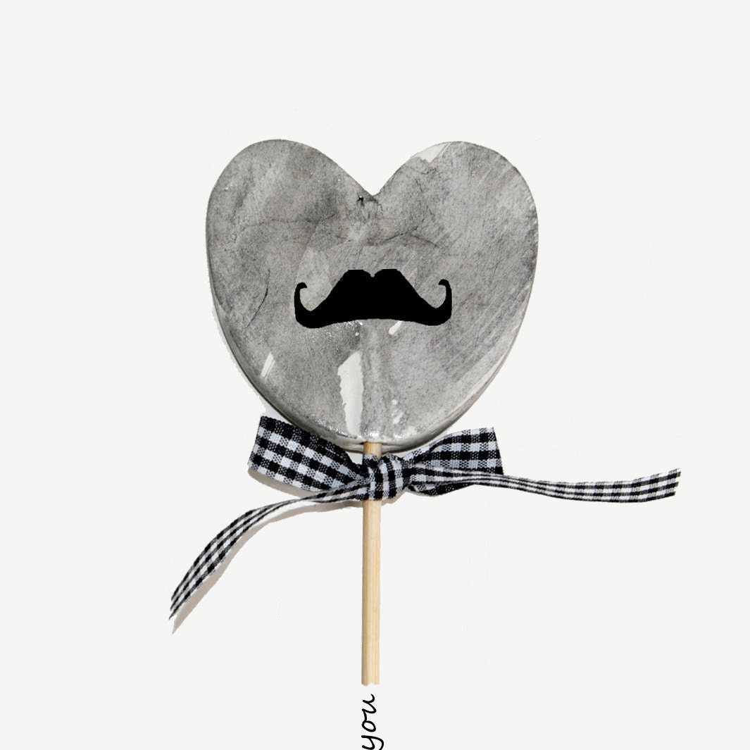 Lolly mustache - I heart you , photographic print of grey heart and mustache with black and white gingham bow,father's day, valentines day, - TheJoyofColor