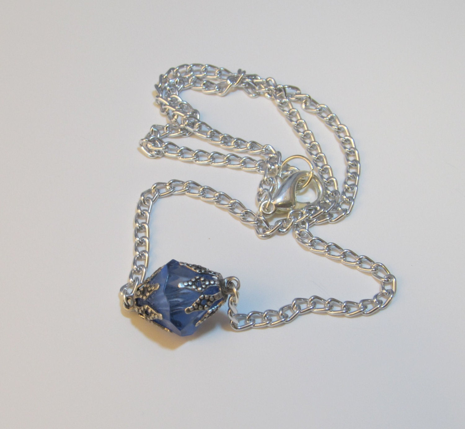small blue kryptonite necklace inspired by by