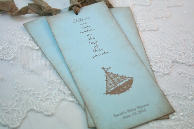 Baby Shower Favors Bookmarks ~ Baby shower bookmark favors boy sailboat by
