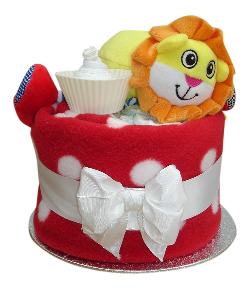 Lenny Lion Nappy Cup Cake  Baby Shower Gift  Unisex Gift  06 Months