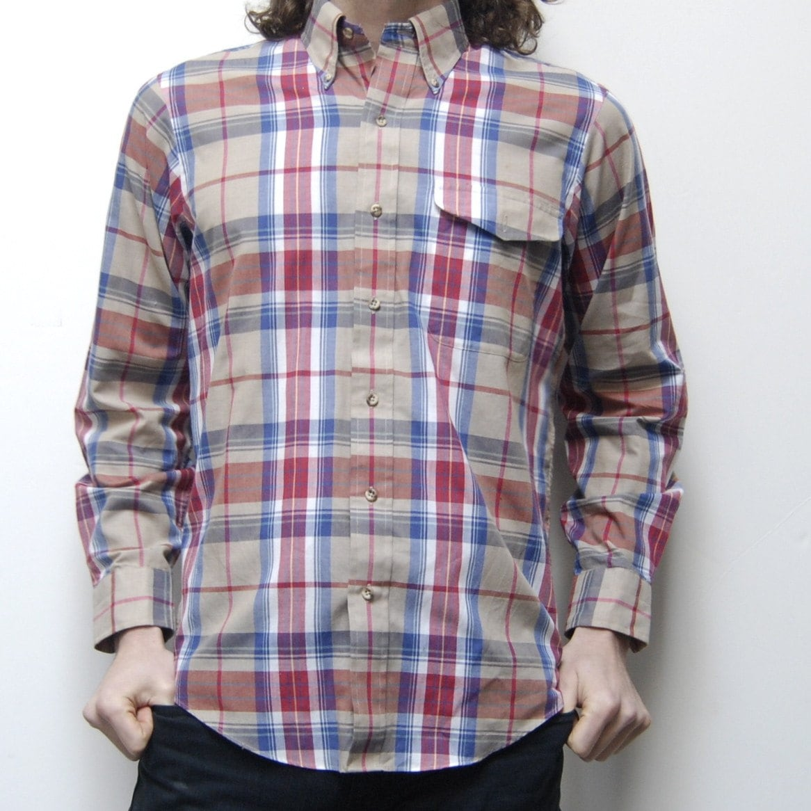 AUTUMN PLAID soft button down collar POCKET shirt