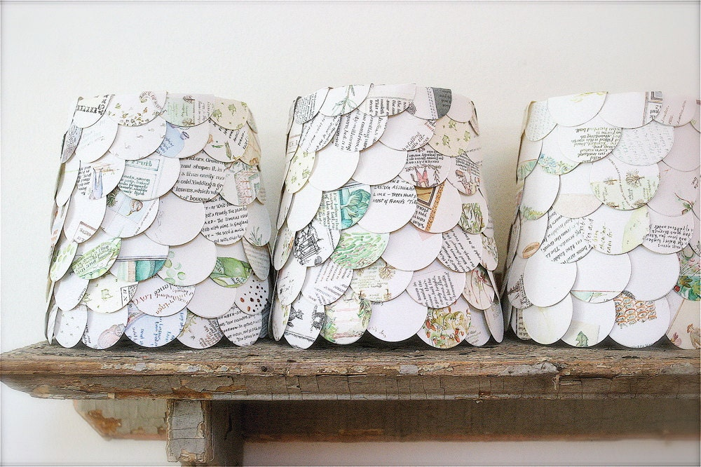 lamp shade, chandelier shade, lantern, upcycled story book pages.