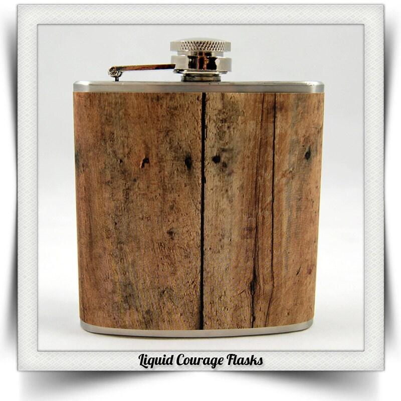 Sale 8 Oz Old Barn Wood Whiskey Flask Vintage By Liquidcourage