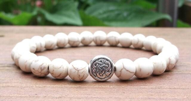 Mens Celtic Knot Bracelet, Men's White Bracelet, Gemstone Bracelet, Gift for Him, Mens Gift,  Men Jewelry, Men Bracelets - BlueStoneRiver