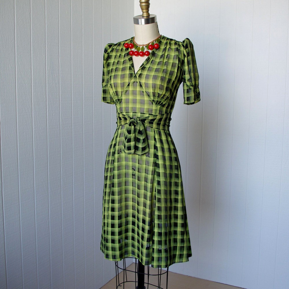 vintage 1940's dress ...amazing sheer black and chartreuse pin-up dress with fabulous shirring and mesh puffed sleeves