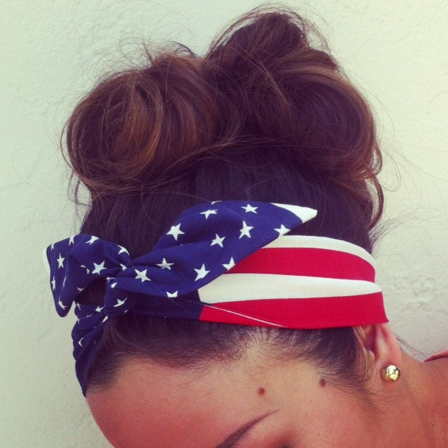 May The 4th Be With You Exclusives: American Flag Dolly Bow Headband EXCLUSIVE Wire Option By