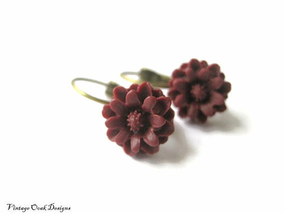 Wine flower earrings, burgundy wedding colors bridesmaid Bordeaux wine lever-back earrings fall jewelry  fall color trend - VintageOoakDesigns