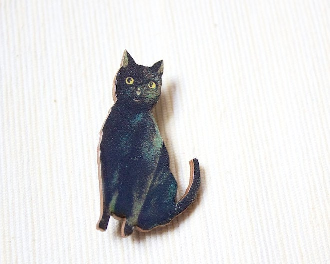 Black Cat Pin, Lucky Brooch, Animal Broach, Kitty, Cute, Wooden Wood, Cute Jewelry, Gothic, Victorian Unique - PennyandPaper