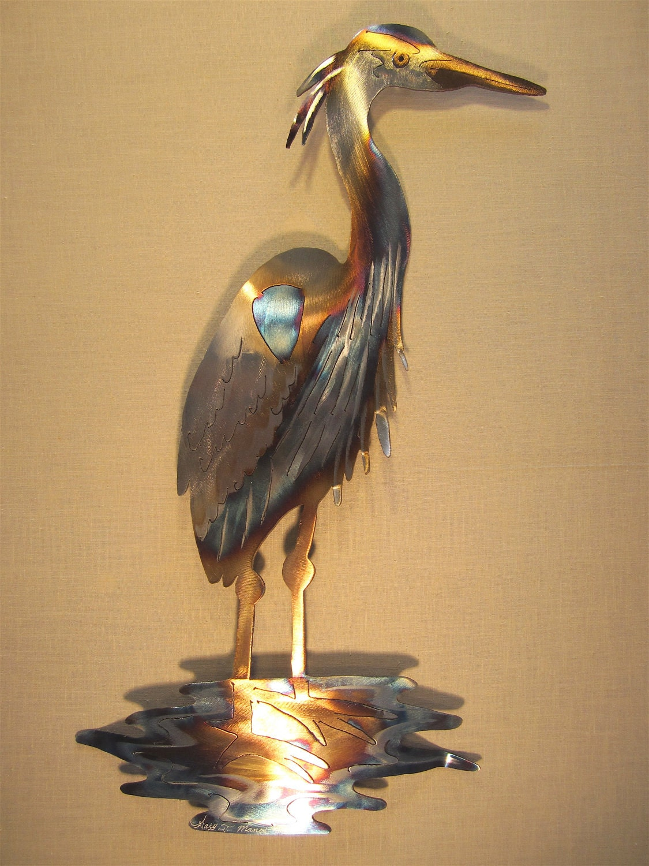 Great Blue Heron Coast Coastal Steel Decor By