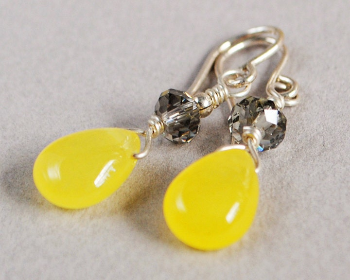 Lemon Drops Jade, Crystal and Sterling Earrings - Yellow Jade Briolette Earrings - Yellow Earrings - Happy Shack Designs - happyshackdesigns