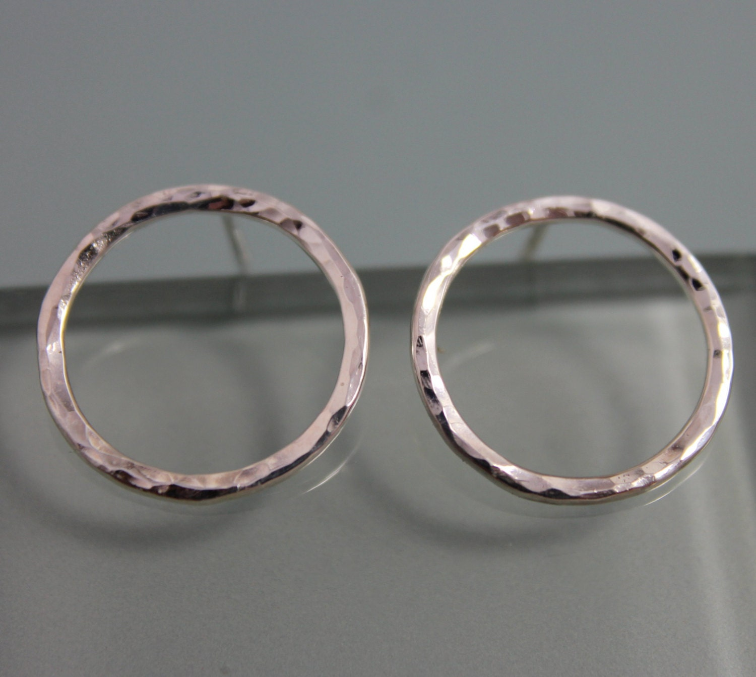 Circle Studs Sterling Silver Tiny Circle Hammered Hoop Stud