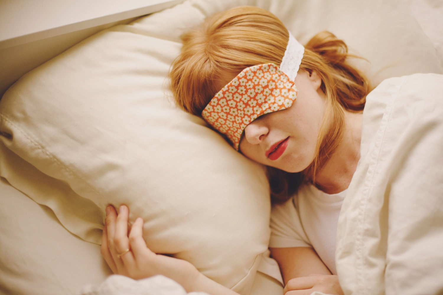 orange sleeping beauty eye mask with green flannel