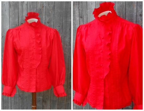 70s vintage secretary blouse tuxedo shirt red by for Red ruffled tuxedo shirt