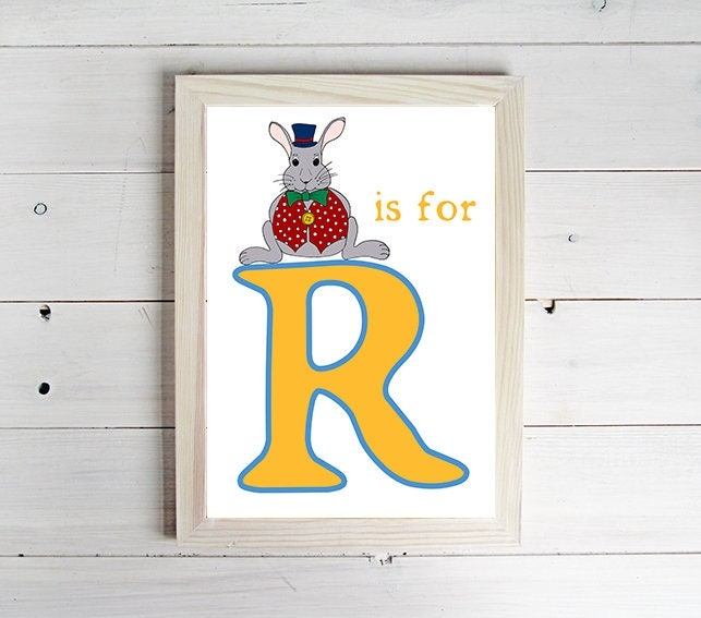 R is for Rabbit Alphabet Print  Unframed Art Print Rabbit Drawing Nursery Picture Animal Wall Art Childrens Decor Kids Bedroom