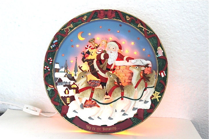 "SALE The Bradford Exchange 1994 Lighted Christmas Plate  ""Up to the Housetop"" Electric Table plate - KMalinkaVintage"
