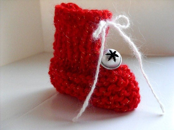 Knit Christmas Stocking Ornament - Baby's 1st Christmas, red booties, snowflake bell, silver bell, sparkly ornament, Christmas decoration - DabHands