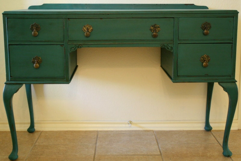French Cabriole Turquoise Teal Vanity or Desk by cameobliss
