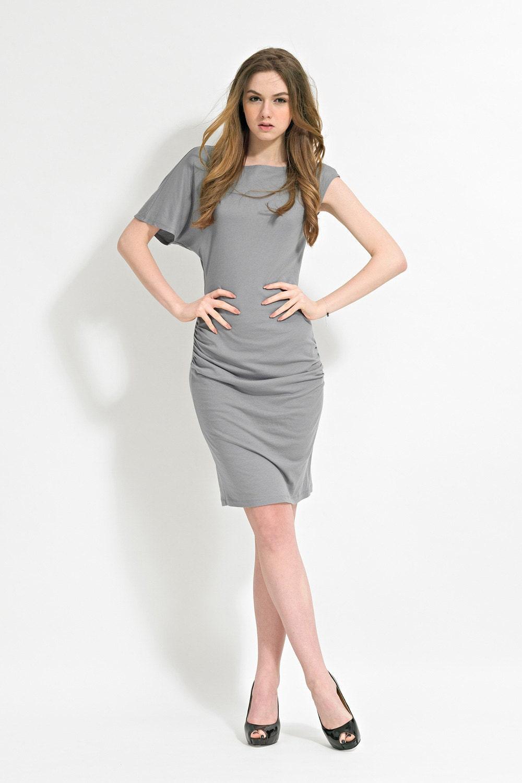 Gray Asymmetric Dress with Knee Length -  Slip Dress - Asymmetric Dress - Gray Dress - Jersey Dress - Cotton Dress - Mini Dress - garylindesign