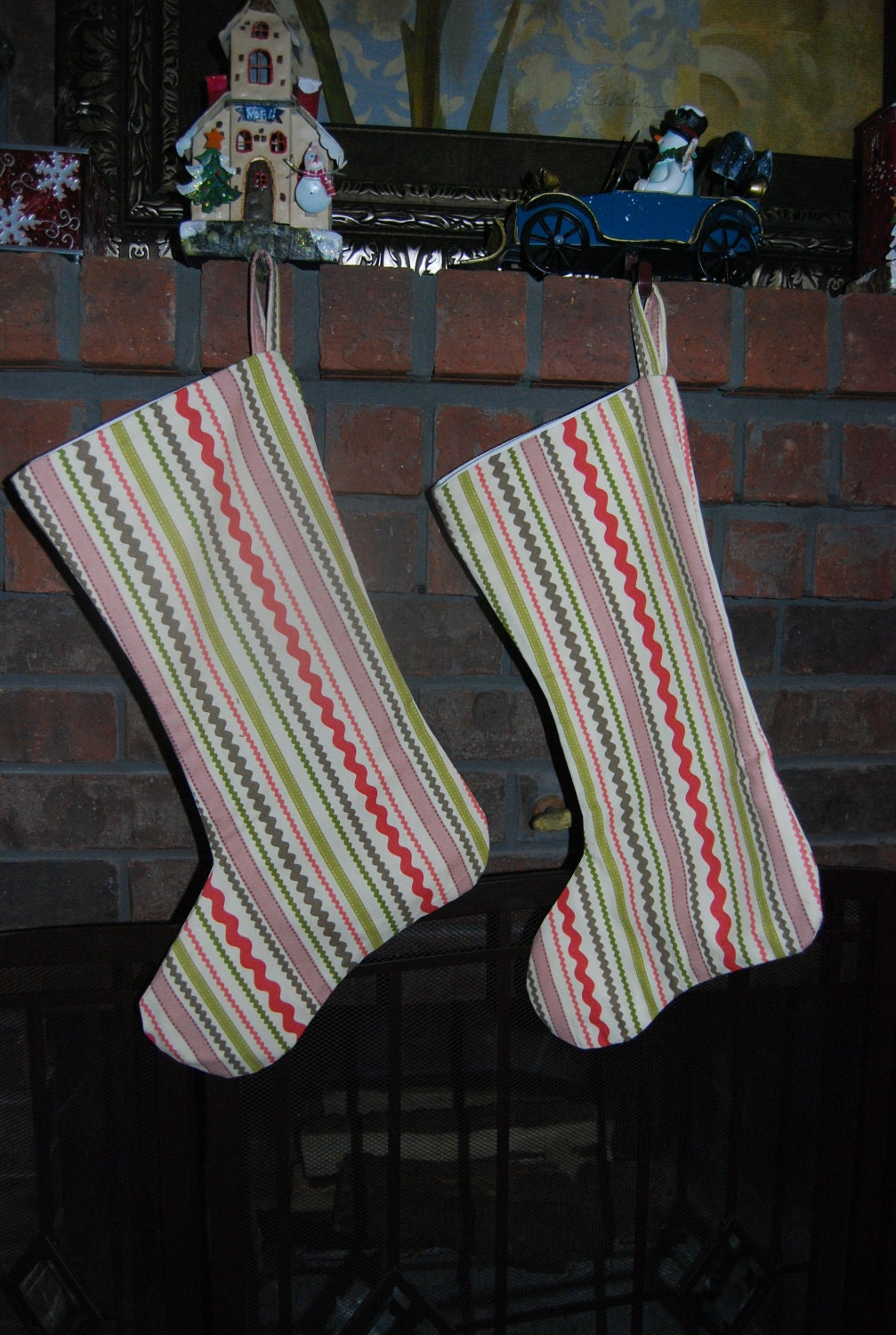 Cute Modern Candy Cane Christmas Stocking