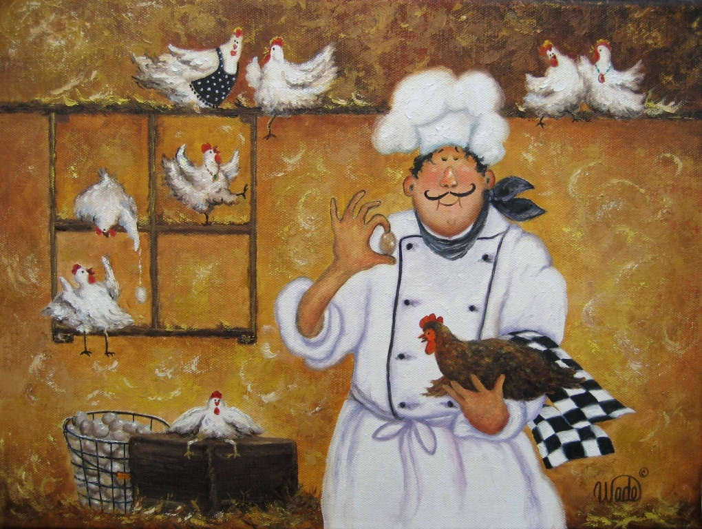 Chicken Chef Art Print Fat Chefs Chef Art By Vickiewadefineart