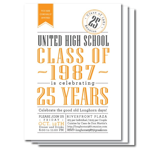 Class reunion invitations custom color digital file or print