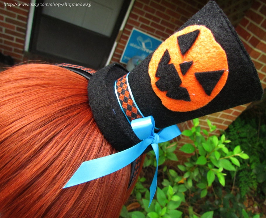 Mrs Pumpkin Inspired Mini Top Hat with Jack o Lantern Face (For Halloween or Cosplay)