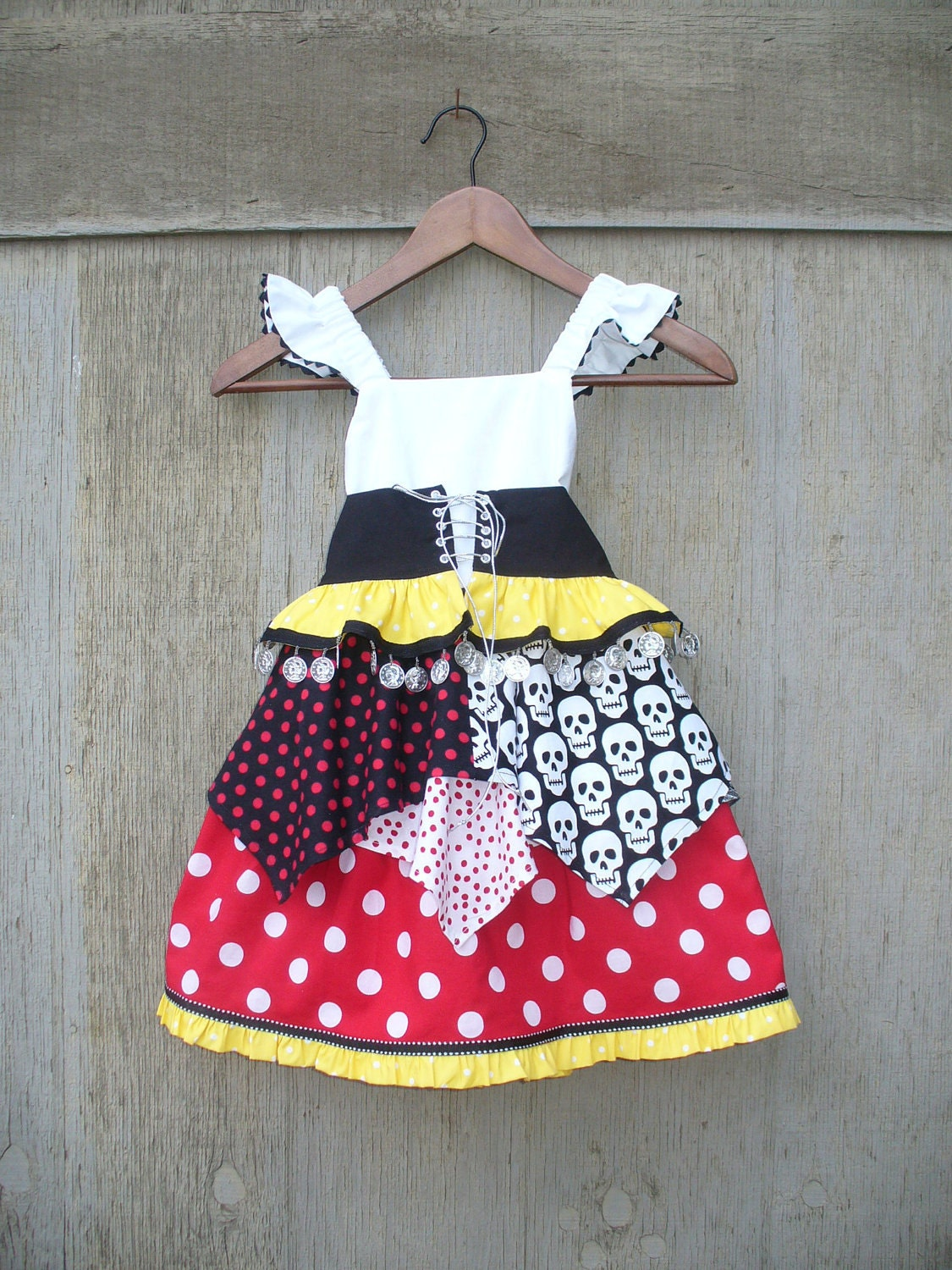 Custom girls Minnie Dot Princess Pirate for sizes 6mo to 10 great for halloween, magical cruise or a trip to the happiest place on earth