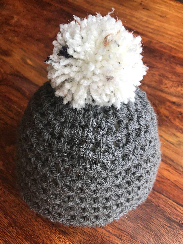 Baby Crochet Hat  Baby BoyGirl Pompom Hat  Baby Woolly Hat 36 mths  Grey and White Beanie 36 mths  Crochet Baby Beanie Hat
