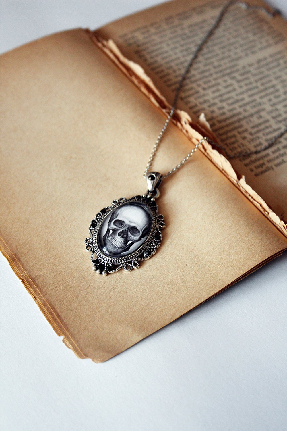 Gothic dark black skull cabochon covered pendant with black crystals - DevilsJewel