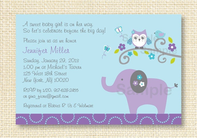 elephant owl baby shower invitation by littleprintsparties on etsy