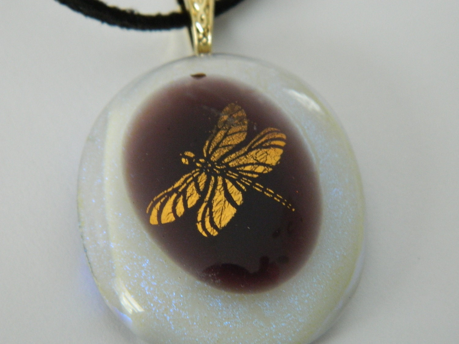 Fused Glass Gold Dragonfly Oval White dichroic Pendant Necklace