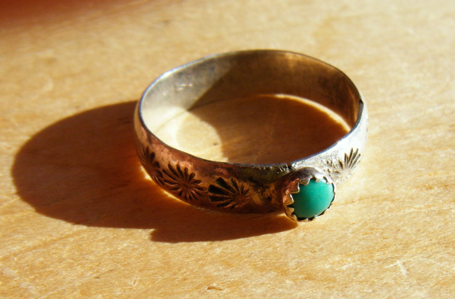 Persian BLUE Turquoise Ring Sterling Native American By SPRADY