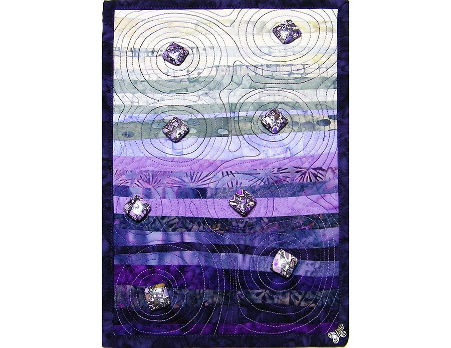 Zen Garden Art Wall Hanging Quilt, Mini Quilt, Purple and Grey - thebutterflyquilter