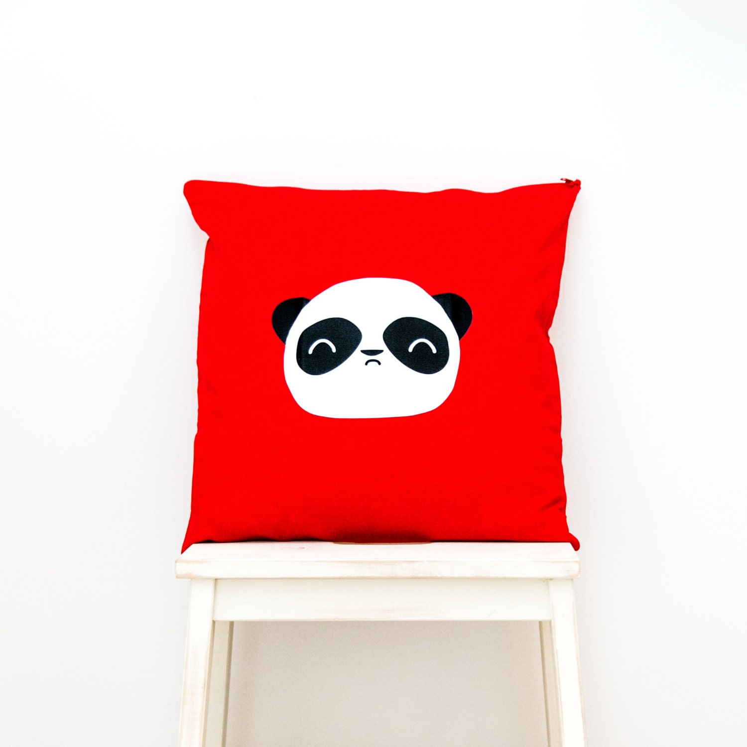 Wise Panda  Kawaii panda face Cushion home decor for childrens bedroom nursery or cosy accessories for the home. Red w monochrome hues