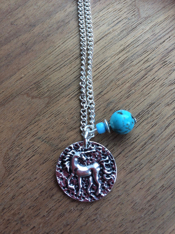 Unicorn necklace turquoise unicorn pendant necklace mythical horse silver necklace gemstone necklace.