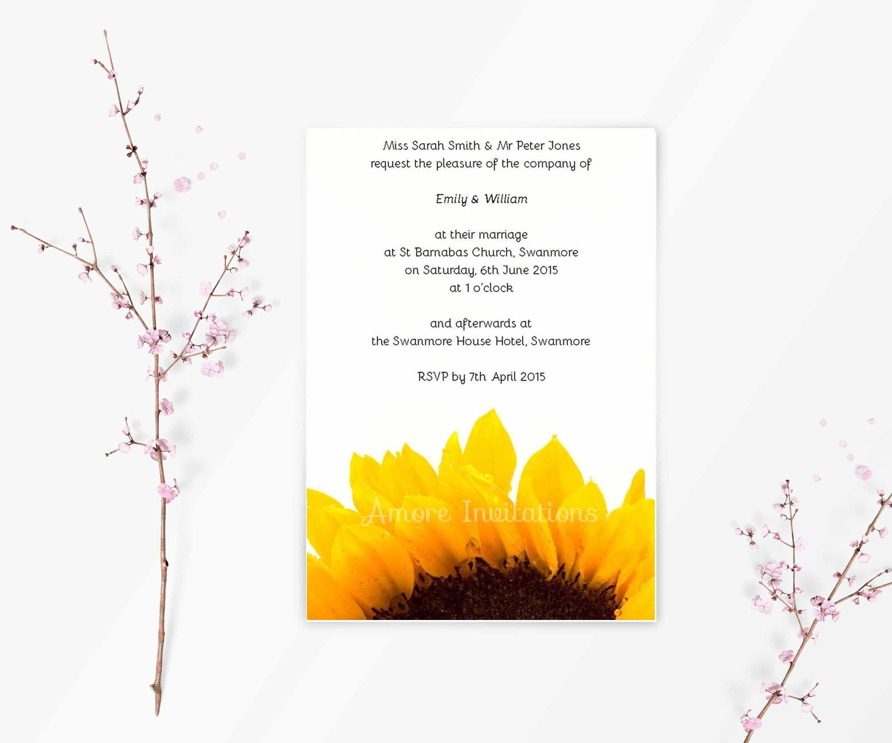 DIY Digital Printable A5 Sunflower Wedding  Birthday  Party Invitation Template  Instant Download  Downloadable  Microsoft Word Format