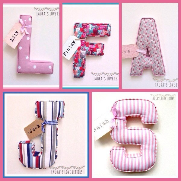 Single fabric padded wall letter with name tag handmade personalised initial name alphabet baby room nursery decor wallart baby gi